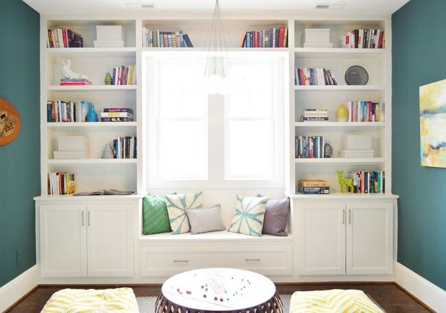 Window Seat with Shelves & Desk in Playroom / Guest Room