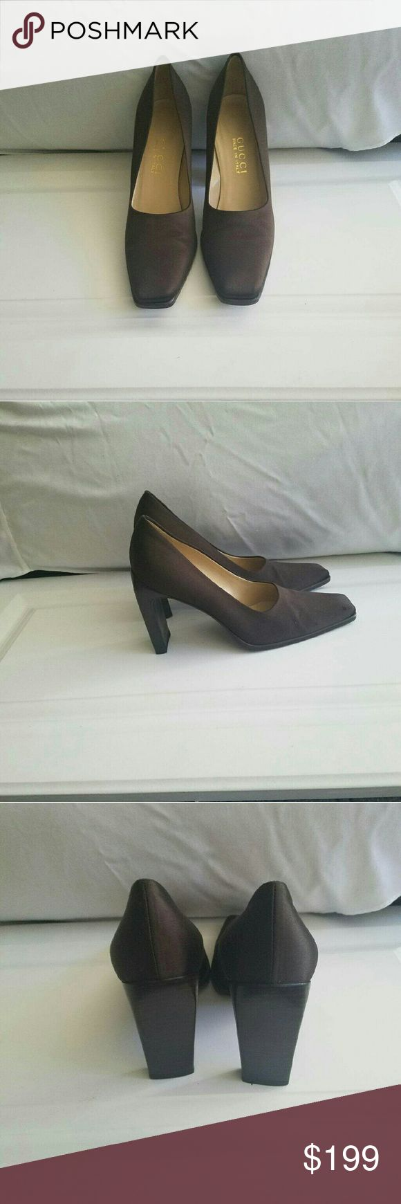 Gucci satin dark brown shoes size 7 1/2 B Used  but in really good condition   I have changed hills on them &had soles cleaned they do show wear have few scraches I belive only 4 that I can see including pict of  most visible 2  on the toes  of both shoes  in my mind this are preaty minor   this shoes have a lot of good years left on them. They satin  deep reach brown color marking them way down cose of the few scraches they have Gucci Shoes Heels