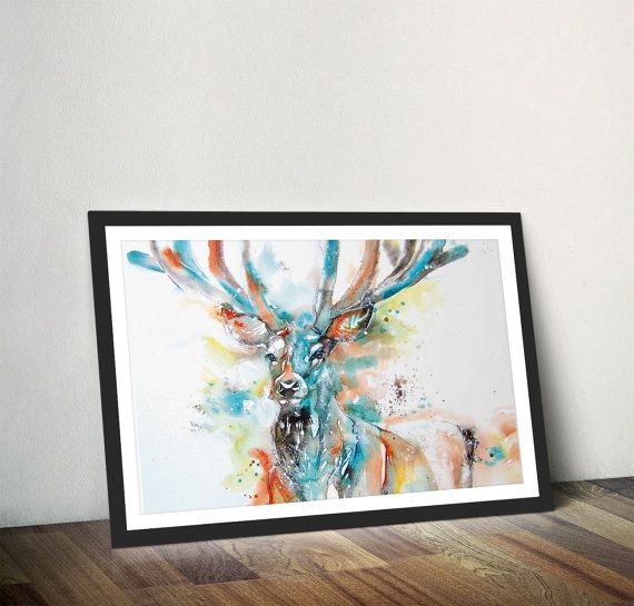 Monarch of the Glen Stag Print Stag Wall Art Deer by Wraptious