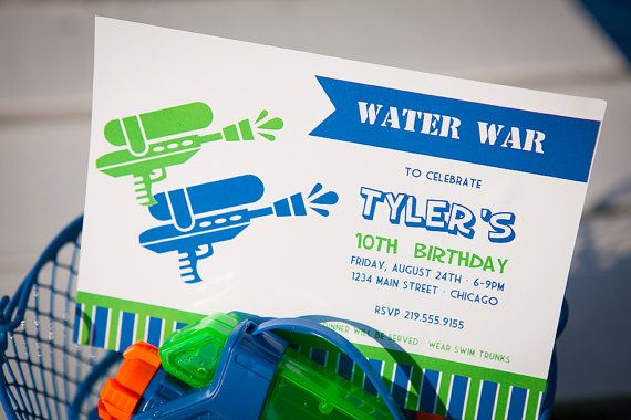 Water War Printable Party Invitation  Green and Blue by HHpaperCO