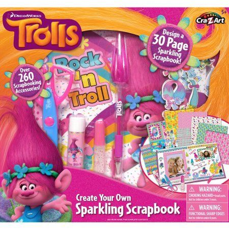 Cra-Z-Art Trolls Create-Your-Own Sparkling Scrapbook, Assorted