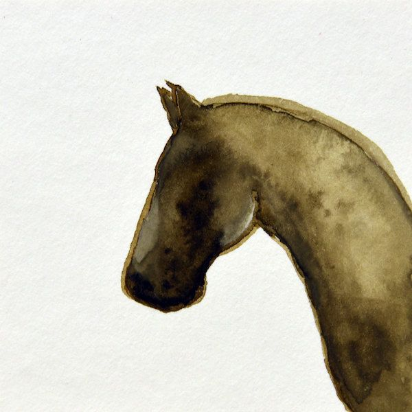 011 Horsehead - ORIGINAL watercolor painting mounted on 7x7 cm plywood - 2,75x2,75 inch - 18 mm thick - Unique Item by Edart on Etsy
