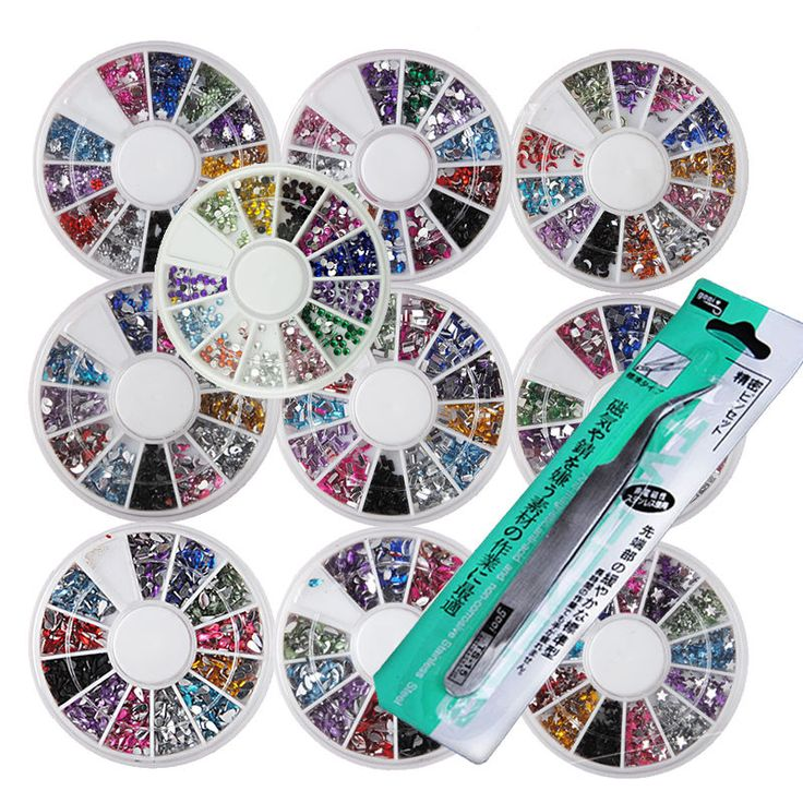 New 10pc Nail Art Rhinestone Round Wheel Acrylic UV Art Tips Tweezer Tools Kit #Unbranded