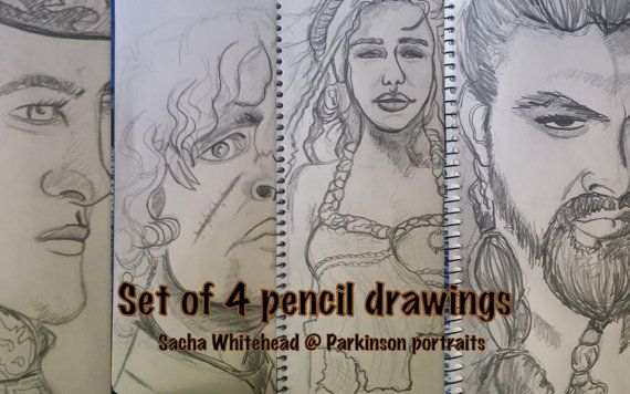Portrait Custom Set of 4  Illustrated Pencil by ParkinsonPortraits