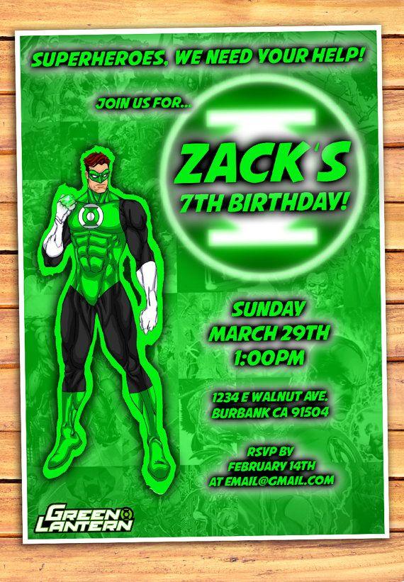 Green Lantern Birthday Invitation Green Lantern