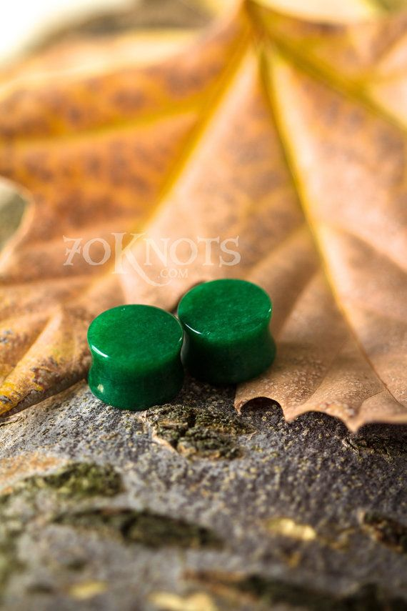 """Jade Plugs - Double Flared - [ The Dress Ship ] - 1 Pair - 0g (8mm), 00g (10mm), 1/2"""" (12mm), 9/16"""" (14mm), 5/8"""" (16mm)  - Organic on Etsy, $8.50"""