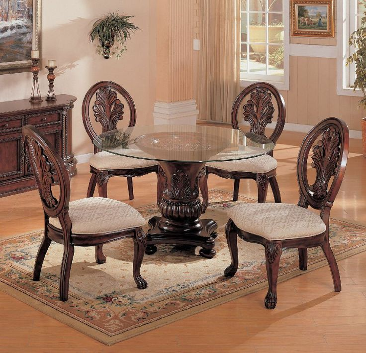Coaster Tabitha 5 Piece 48 Glass Table Dining Set