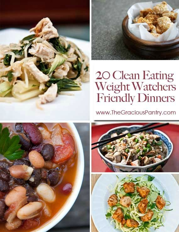 20 Clean Eating Weight Watchers Friendly Dinners #CleanEating