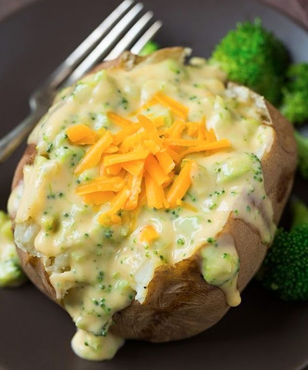 Baked Potatoes with Broccoli Cheese Sauce | 16 Baked Potato Recipes To Drool Over
