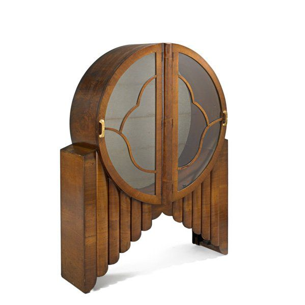 1920u0027s English Art Deco Curio Cabinet // Circular, Wood, Glass, Lines,