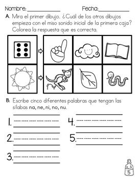 October Language Arts Home or Morning Work in Spanish *For First ...