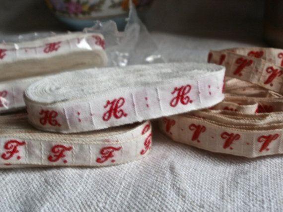 Tejido de ropa francesa monograma cinta solas letras inusitado f c o q u y tradicional hilo rojo de algodón blanco