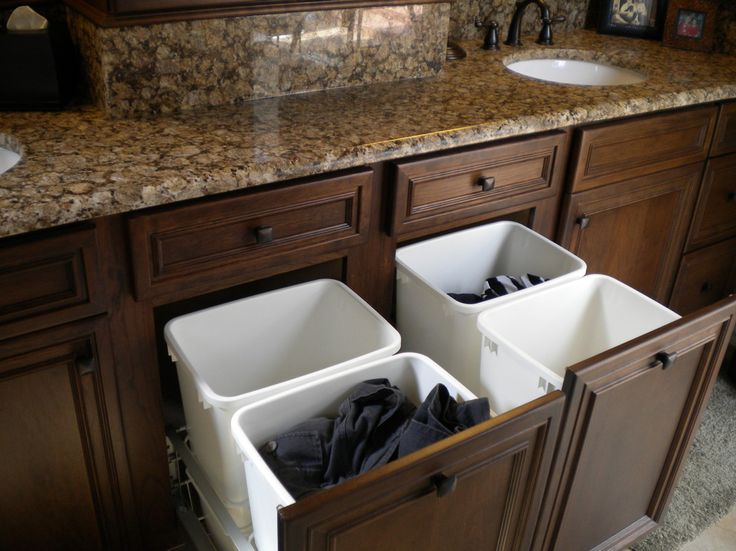 Sumptuous laundry sorter in Bathroom Traditional with Recycle Bin next to Trash Drawer alongside Hidden Laundry and Pull-out Laundry Basket