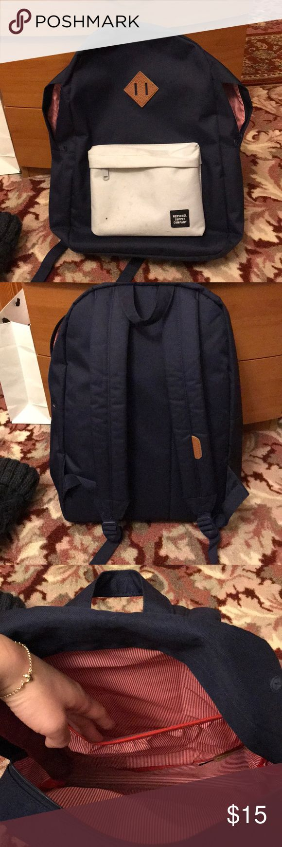 Herschel bookbag Used. Some dirt marks on the front light blue pouch as indicated in pictures. Other than that the bag is in great condition. No rips or tears. Has a laptop compartment- fits a 15 inch laptop Herschel Supply Company Bags Backpacks