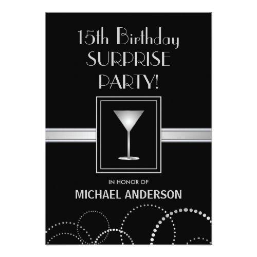 15th Birthday Masculine Party Invitations