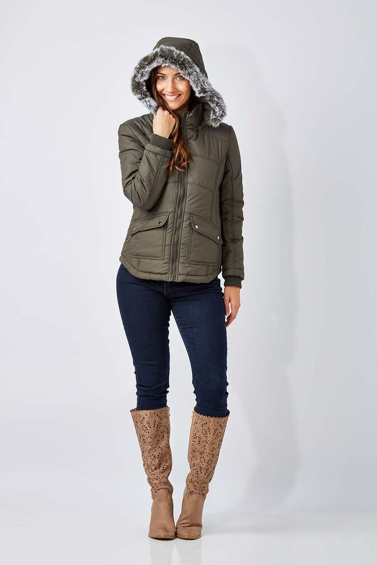 NEST PICKS - Short Puffer Jacket (Khaki): From Nest Picks the Short Puffer Jacket is quilted with a detachable faux fur trim hood, designed to keep you toasty on the inside and protected from the winter chill. With shaping through the waist and a full length zip, this jacket gives a great weekend look when teamed over jeans and boots (If you prefer a less fitted look we would suggest going up a size). Love, Rowena and the birdsnest girls x