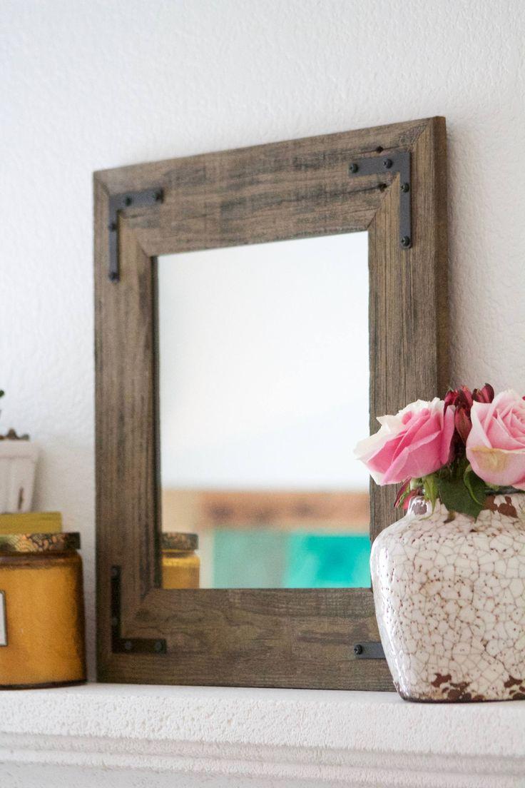 Mirror, Wall Mirror, Bathroom Mirror, Rustic Wood Mirror, Wood Frame Mirror, Modern Mirror, Vanity Mirror, Small Mirror http://etsy.me/2AO2Xye #housewares #homedecor #housewarming #entryway #brown #christmas #rusticmirror #rustichomedecor #smallmirror