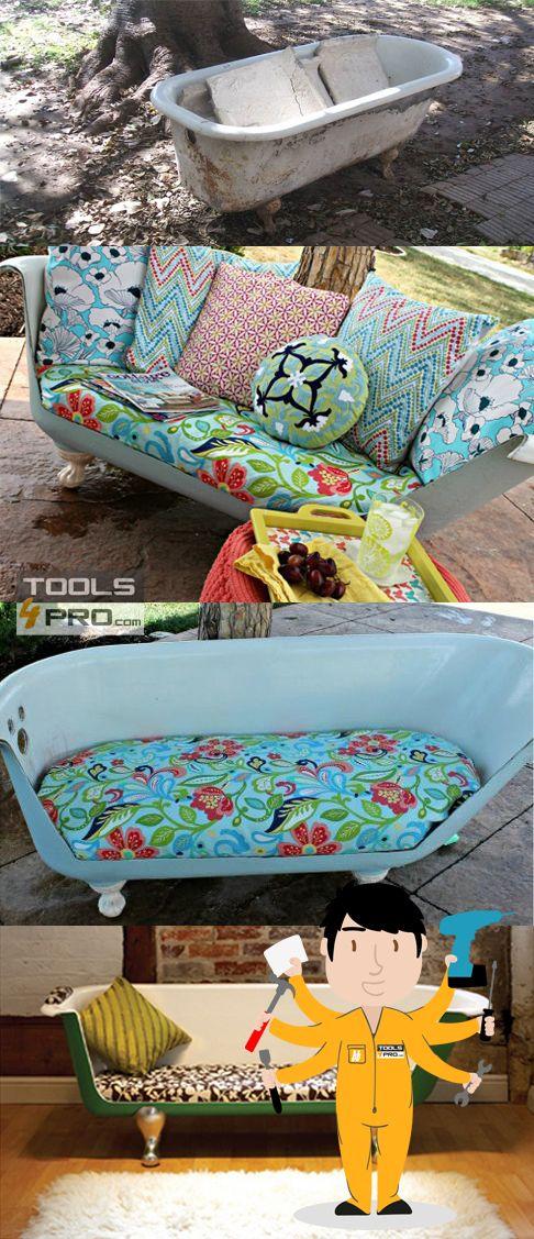 ¡Con una amoladora construye un sillón con una bañera antigua!