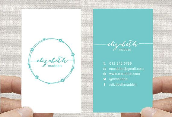 """Business Card Design Template, Vertical, Simple Floral Wreath, Custom Digital Download 2x3.5"""". mint green vertical design. double sided"""