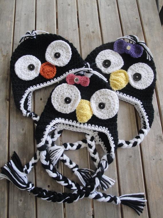 Penguin crochet hats no pattern just inspiration