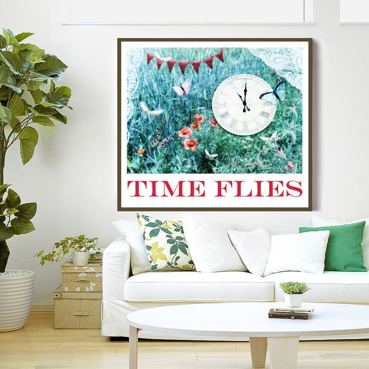 PRINTABLE Art Print, TIME FLIES, Instant Download, Time, Digital File, Quote Poster by RecipesOfHappiness on Etsy
