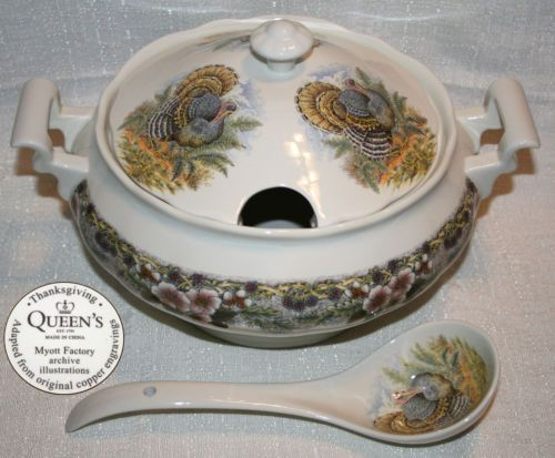 NEW Queens Myott Thanksgiving Turkey Multicolor Tureen with Lid \u0026 Ladle SET & 51 best Dishes images on Pinterest | Dishes Dinnerware and Dish