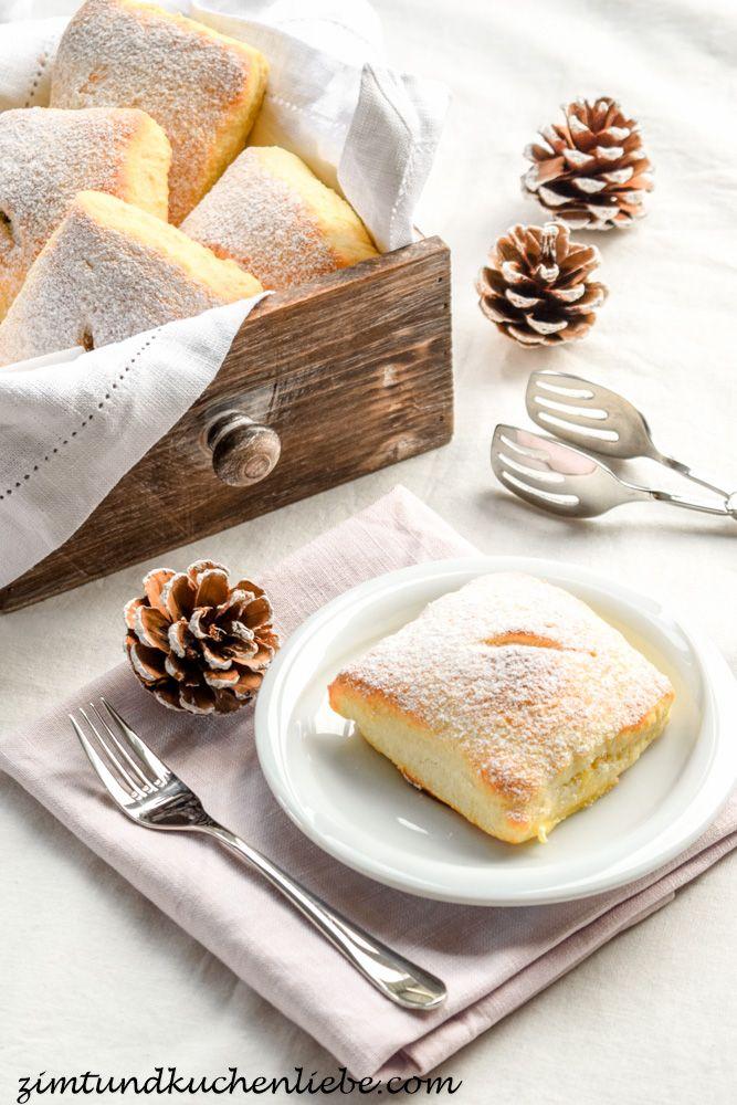 Quarkteigtaschen mit Vanillecreme & Amarenakirschen Füllung #ichbacksmir #gefülltes