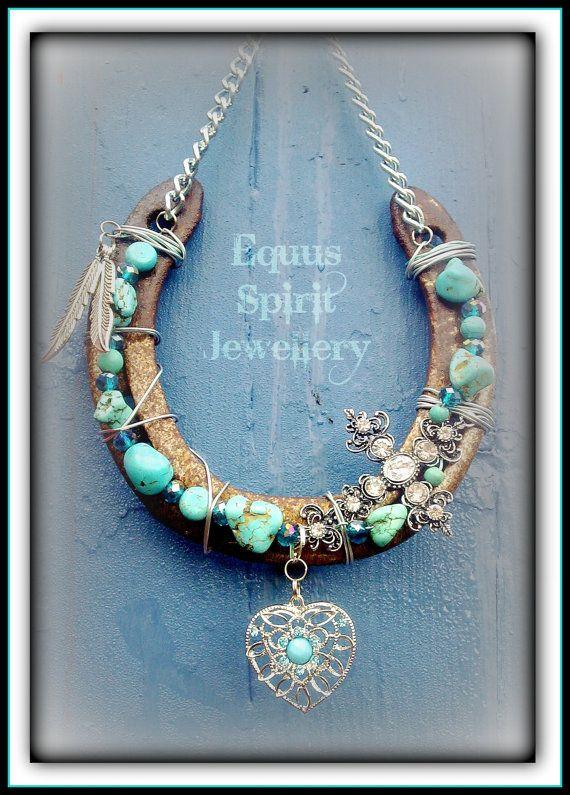 Good fortune gemstone horseshoe by EquusSpiritJewellery on Etsy, £25.00