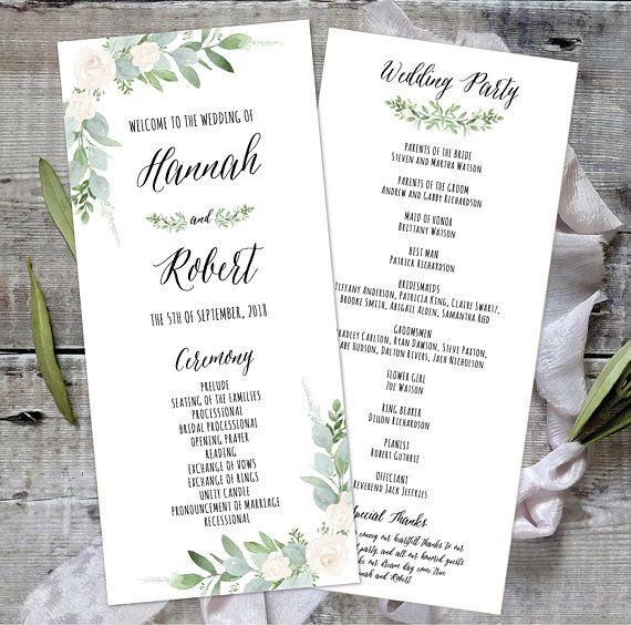 Printable Wedding Program 4x9 Wedding Program Template Etsy Wedding Programs Template Printable Wedding Programs Wedding Programs