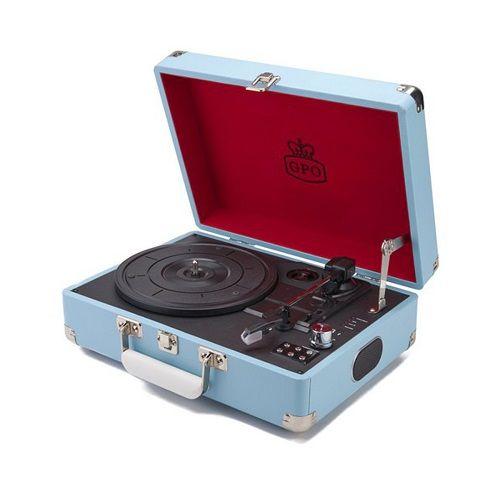 Platine disque vinyle gpo vintage bleu ciel