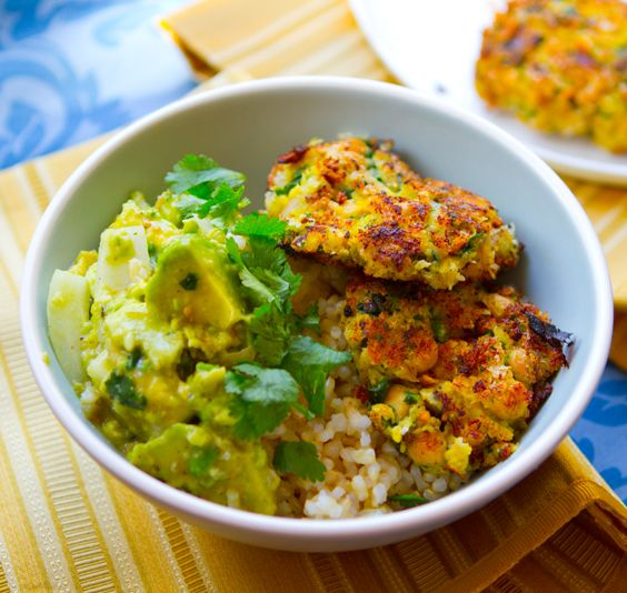 Green Island Fritters over Rice + Verde Guacamole