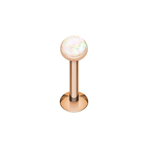 """Rose Gold Opal Glitter Shower Dome Steel Labret Specifiations: 16ga Surgical Stainless Steel 5/16"""" bar Length 1/8"""" Ball top"""