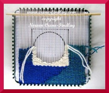 "weaving tapestry designs on a ""potholder loom"""