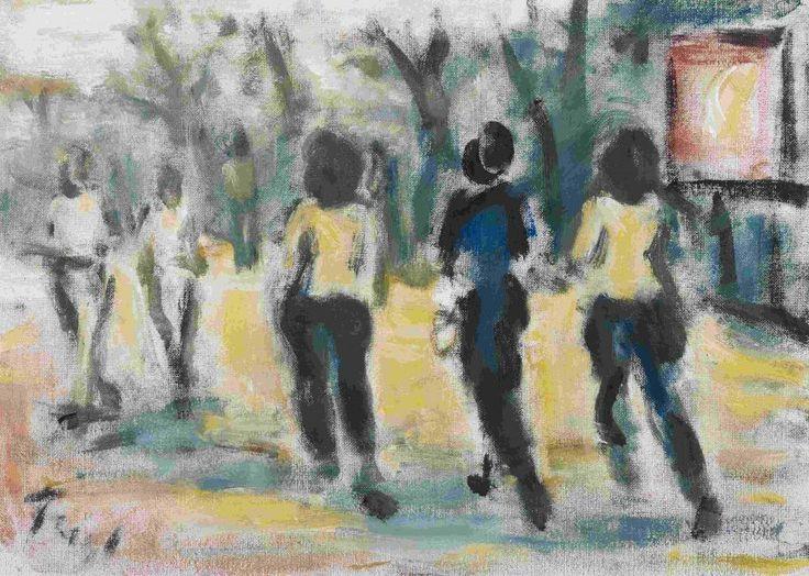 Feigl, Friedrich (Prag 1884–1965 London) Figuren im Park. Öl auf Pavatex. Unten links signiert. 6