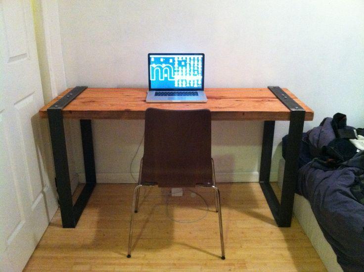 industrial reclaimed wood and blackened steel desk - DIY