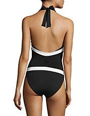 One-Piece Plunge Twist Halter Swimsuit