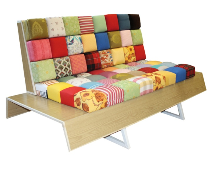 The German site ZweitSinn is offering some fabulous recycled and repurposed furniture pieces - like these pixel chairs with recycled fabrics and bed legs
