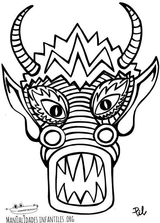 Mascara De Dragon Chino Para Imprimir Dibujo Dragon Chino Mascara De Dragon Dragones