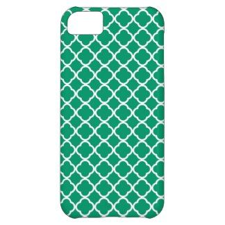 Jade Green And White Quatrefoil. Moroccan Pattern iPhone 5C Cases
