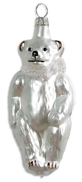 Blown glass Christmas bear ornament from Germany