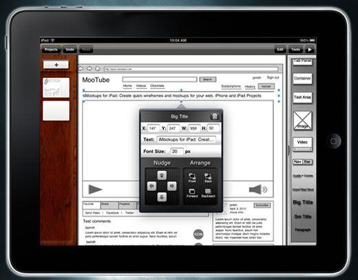 iPad wireframeing