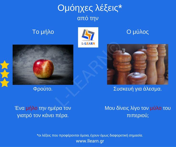 """""""Μήλο"""" ή """"μύλο"""".  #vocabulary #Greek #greek #language #homonyms #λεξιλόγιο #Ελληνικά #ελληνική #γλώσσα #ομόηχες #LLEARN"""