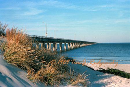 Chesapeake Bay Bridge-Tunnel from Chicks Beach at Virginia Beach, VA