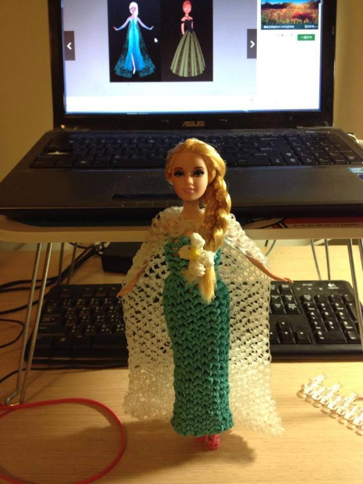 Rainbow loom dress for a doll