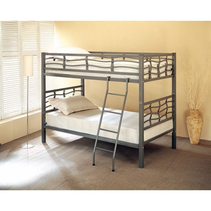 Benzara Spectacular Twin Bunk Bed with Ladder, Gray