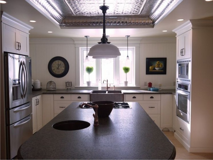 Fab kitchen remodel: Natural Tins, Tins Ceilings, Upper Cabinets, Copper Sinks, Kitchens Renovation, Granite Countertops, Groove Panels, Details Include, Includ Copper