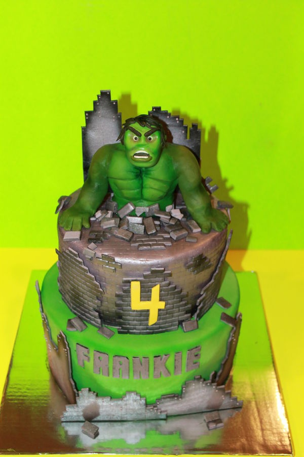 Incredible Hulk Cake. Cake is completely edible. Hulk is sculpted out of modeling chocolate...yummy!!!