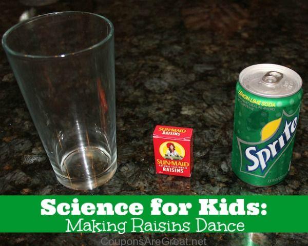 Science for kids making raisins dance