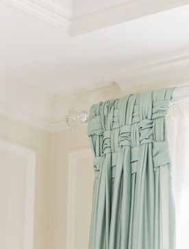 This basketweave treatment to these aqua sheers is just stunning, and the crystal finials are a very pretty touch.