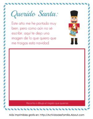 Plantilla de Carta a Santa Claus con espacio para imagen. Esta carta fue diseñada especialmente para que los pequeñitos que no saben escribir se expresen mediante imágenes.